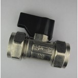 15mm C x C Isolating Valve c/w Black Handle & Chrome